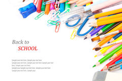 De nouveau au concept d'école, papeterie Image libre de droits