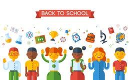 De nouveau au concept d'éducation d'école avec des schoolers illustration de vecteur