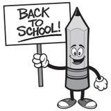 De nouveau au crayon d'école avec un signe illustration stock