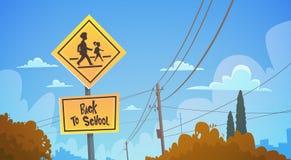 De nouveau au panneau routier d'étude d'école au-dessus du ciel bleu illustration de vecteur