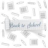 De nouveau au ruban de papier de salutation d'école Image stock