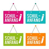 De nouveau au signe accrochant de porte d'école Allemand-traduction : Schulanfang illustration stock