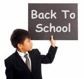 De nouveau au signe d'école comme symbole d'éducation Photos libres de droits