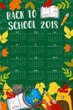 De nouveau au tableau de calendrier du vecteur 2018 d'école Photo libre de droits
