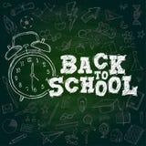 De nouveau au texte de craie d'école Griffonnage Backgro vert-foncé d'alarme de montre illustration de vecteur