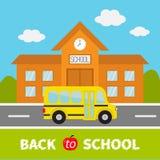 De nouveau au texte d'école Bâtiment scolaire avec l'horloge et les fenêtres illustration stock