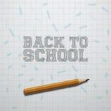 De nouveau au texte d'école et au crayon réaliste Photos stock