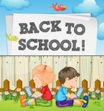 De nouveau au thème d'école avec des enfants et des ordinateurs illustration libre de droits