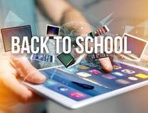 De nouveau au titre d'école entouré par le dispositif aimez le smartphone, comprimé Photographie stock