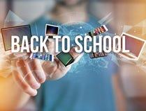 De nouveau au titre d'école entouré par le dispositif aimez le smartphone, comprimé Photos libres de droits