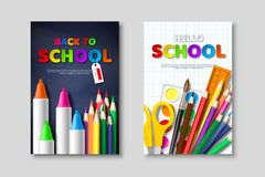 De nouveau aux affiches de vente d'école avec les fournitures scolaires 3d et les lettres réalistes de style de coupe de papier A illustration de vecteur