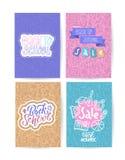De nouveau aux cartes en liasse d'école avec des emblèmes de couleur sur le fond différent se composant des fournitures scolaires illustration stock