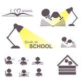 De nouveau aux icônes d'école réglées Photographie stock libre de droits