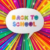 De nouveau aux mots d'école sur les rayons colorés Photographie stock libre de droits