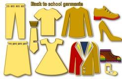 De nouveau aux vêtements d'école illustration stock