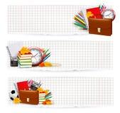De nouveau à l'école. Deux bannières avec des fournitures scolaires. Photo stock