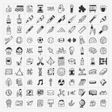 100 de nouveau à l'ensemble d'icône de main-aspiration de griffonnage d'école Photographie stock