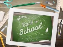 De nouveau à l'illustration d'école avec le comprimé ENV 10 Images libres de droits