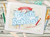 De nouveau à l'illustration d'école avec le comprimé ENV 10 Image libre de droits