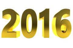 Or 2016 de nouvelle année 3d d'isolement d'or Photo stock