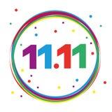 11 de novembro círculo colorido do carnaval com confetes ilustração stock
