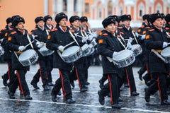 5 DE NOVEMBRO DE 2016: Ensaio de gala da parada, dedicado ao 7 de novembro de 1941 no quadrado vermelho em Moscou Fotos de Stock Royalty Free