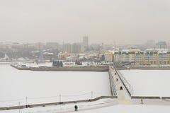 27 de novembro de 2016: Foto da baía de Cheboksary no Rio Volga dentro Fotos de Stock Royalty Free