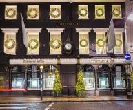 13 de novembro de 2014 loja de Tiffany na rua bond nova, Londres, decoros Fotografia de Stock Royalty Free