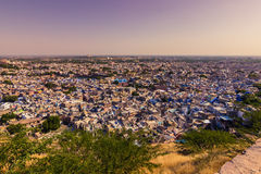 5 de novembro de 2014: Panorama da cidade azul de Jodhpur, Índia Fotos de Stock Royalty Free