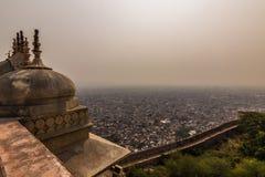4 de novembro de 2014: Panorama da cidade de Jaipur de Amber Fort, Imagens de Stock