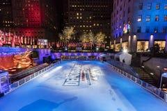 8 de novembro de 2016, 'pista CENTER da patinagem no gelo da PLAZA da DEMOCRACIA' de ROCKEFELLER - para a campanha 2016 presidenc Fotografia de Stock Royalty Free