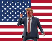 12 de novembro de 2016: Retrato do caráter de Donald Trump no fundo da bandeira americana ilustração 3D Imagens de Stock Royalty Free