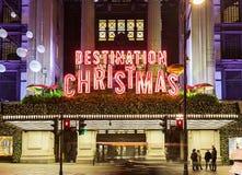 13 de novembro de 2014 rua de Oxford, Londres, decorada pelo Natal e 2015 anos novo, Inglaterra Fotografia de Stock