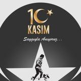 10 de novembro, o fundador da República da Turquia M K Aniversário da morte do ` s de Ataturk Inglês: 10 de novembro de 1881 - 19 Imagem de Stock Royalty Free