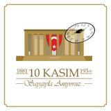 10 de noviembre, aniversario de Mustafa Kemal Ataturk Death Day ilustración del vector