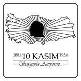 10 de noviembre, aniversario de Mustafa Kemal Ataturk Death Day libre illustration