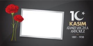 10 de noviembre, aniversario de Mustafa Kemal Ataturk Death Day Memorial Day de Ataturk Diseño de la cartelera libre illustration
