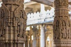 8 de noviembre de 2014: Detalle del arte de las paredes talladas del te Jain Fotos de archivo libres de regalías