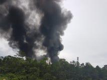 27 de noviembre de 2016, Johor Humo ardiente al lado de la carretera Fotografía de archivo libre de regalías