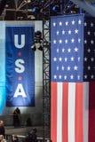 8 de noviembre de 2016, noche de la elección de la bandera de los E.E.U.U. en Jacob K Javits centra - el lugar para el EL preside Imágenes de archivo libres de regalías