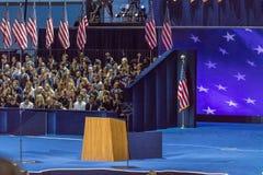 8 de noviembre de 2016, noche vacía de la elección del podio en Jacob K Javits centra - el lugar para el candidato presidencial D Imagenes de archivo