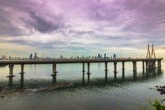 """15 de noviembre de 2014: Panorama del bridg del vínculo del mar de Bandra†""""Worli Fotos de archivo libres de regalías"""