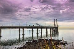 """15 de noviembre de 2014: Panorama del bridg del vínculo del mar de Bandra†""""Worli Foto de archivo libre de regalías"""