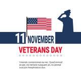 11 de noviembre diseño de la bandera del día de los veteranos en el fondo blanco con nosotros soldado And Copy Space de las fuerz Fotos de archivo