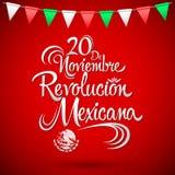 20 de Noviembre Revolucion Mexicana - 20 de novembro os espanhóis da revolução mexicana text ilustração do vetor