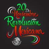 20 de Noviembre Revolucion Mexicana - 20 de novembro os espanhóis da revolução mexicana text ilustração royalty free