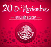 20 De Noviembre, Revolucion Mexicana - Meksykańskiej rewoluci teksta hiszpańska karta Zdjęcie Royalty Free
