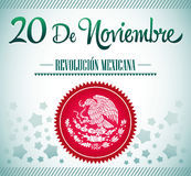 20 de Noviembre, Revolucion Mexicana - Mexican Rev. Olution spanish text card - poster - ribbon Stock Photography