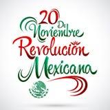 20 DE Noviembre Revolucion Mexicana - 20 November Mexicaanse Revolutie Spaanse tekst royalty-vrije illustratie