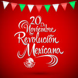 20 de Noviembre Revolucion Mexicana - November 20 Mexican Revolution Spanish text Royalty Free Stock Images